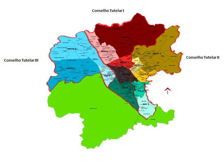 Mapa dos Conselhos Tutelares de Jundiaí